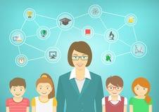 Modern Woman Teacher and Kids Stock Images