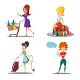 Modern Women Cartoons. Housewife with Vacuum Cleaner. Girl in Supermarket. Summer Vacation Royalty Free Stock Photography
