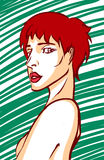 Modern women face. Red hair women looking back Stock Photography