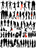 Modern women and men silhouettes Stock Photography