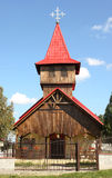 Modern wood church. With blue sky background Stock Images