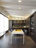 Modern wood kitchen Royalty Free Stock Image