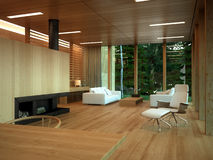 Modern wood living room interior Stock Photos