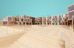 Modern wood modell för hus 3d Arkivfoto