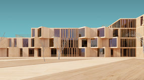 Modern wood modell för hus 3d Arkivbild
