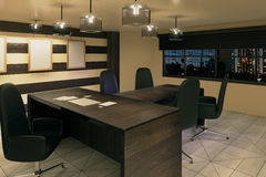 Modern wood style office with furniture and night city view Royalty Free Stock Photo