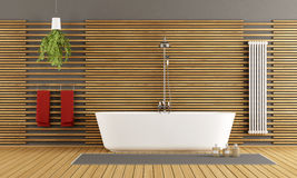 Modern wooden bathroom Royalty Free Stock Photos