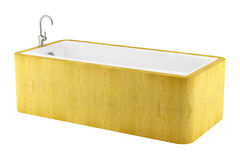 Modern wooden bathtub isolated on white Stock Images