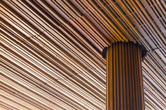Modern wooden with big pillar and ceiling. Royalty Free Stock Photography