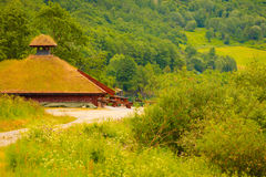 Modern wooden cabin in forest Norway Royalty Free Stock Photos