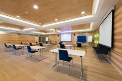 Modern wooden conference room Royalty Free Stock Photos