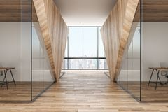 Modern wooden corridor. Modern wooden office interior corridor with city view and daylight. 3D Rendering stock illustration