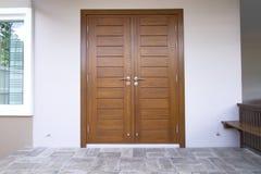 Modern wooden door stock images
