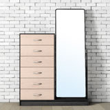 Modern Wooden Dresser with Mirror. 3d Rendering Royalty Free Stock Image