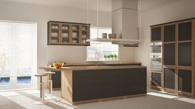 Modern wooden and gray kitchen with island, stools and windows, parquet herringbone floor, architecture minimalistic interior desi. Gn stock image