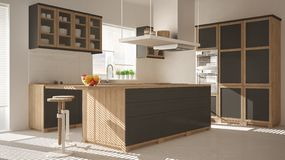 Modern wooden and gray kitchen with island, stools and windows, parquet herringbone floor, architecture minimalistic interior desi. Gn stock photos