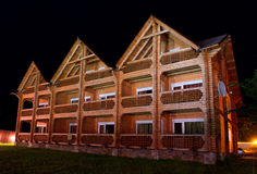 Modern wooden hotel night Stock Photography