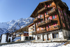Modern wooden hotels in the charming Swiss resort of Saas-Fee Royalty Free Stock Images