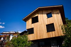 Modern wooden house in Italian Alps Stock Photos