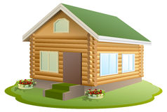 Modern wooden house. Log house. New home with green roof Stock Image