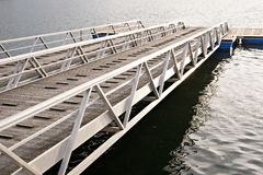 Modern wooden jetty or pier with metal sides stock image