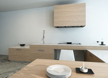 Modern wooden kitchen interior Royalty Free Stock Image