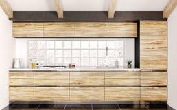 Modern kitchen interior 3d rendering Stock Images