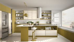 Modern wooden kitchen with wooden details and panoramic window,. White and yellow minimalistic interior design, sunset sunrise panorama Royalty Free Stock Images