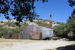 Modern wooden and metallic chapel. San Olav. Covarrubias, Burgos Stock Photo