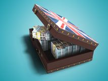 Modern wooden open suitcase with a million dollars 3d render on. Blue background with shadow stock illustration