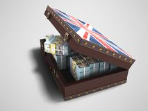 Modern wooden open suitcase with a million dollars 3d render on. Gray background with shadow royalty free illustration