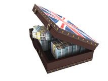 Modern wooden open suitcase with a million dollars 3d render on. White background no shadow royalty free illustration