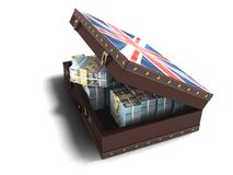 Modern wooden open suitcase with a million dollars 3d render on. White background with shadow vector illustration