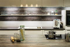 Modern wooden optic kitchen Royalty Free Stock Photography