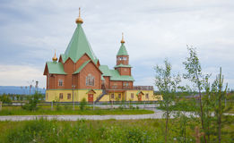 Modern wooden orthodox Christian church Royalty Free Stock Photo