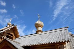 Modern Wooden Orthodox church in Moscow, Russia Stock Photo