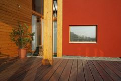 Modern wooden outdoor terrace Stock Photos