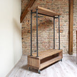 Modern wooden rack in the loft interior Royalty Free Stock Images