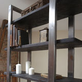 Modern wooden rack in the loft interior Royalty Free Stock Image