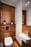 Modern wooden restroom Stock Photography