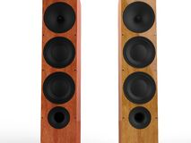 Modern wooden speakers - closeup - front view Royalty Free Stock Images