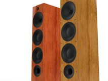 Modern wooden speakers - closeup Stock Photo