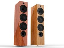 Modern wooden speakers. Isolated on white background Royalty Free Stock Image