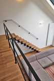Modern wooden stairs Royalty Free Stock Image