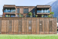 Modern wooden synergy architecture at Wolfenschiessen on the Swi Royalty Free Stock Image