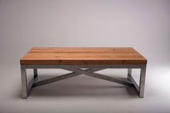 Modern wooden table studio shot on white background Royalty Free Stock Photos