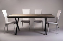 Modern wooden table studio shot on white background Royalty Free Stock Photos