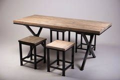 Modern wooden table studio shot on white background Stock Photos