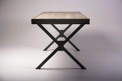 Modern wooden table studio shot on white background Royalty Free Stock Photo