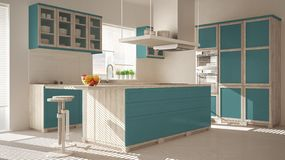 Modern wooden and turquoise kitchen with island, stools and windows, parquet herringbone floor, architecture minimalistic interior. Design stock photography